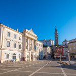 Tartini Square in Piran, Slovenia on a Hot Summer Day with Clear Blue Sky