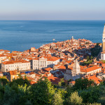 Panoramic View of Picturesque Piran Old Town in Slovenia in the Morning. Aerial view.